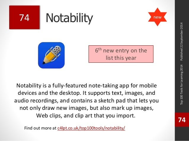 Notability  Notability is a fully-featured note-taking app for mobile  devices and the desktop. It supports text, images, ...