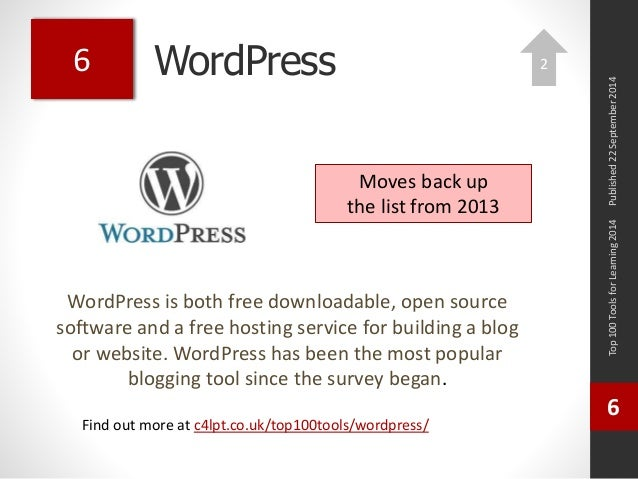 WordPress  WordPress is both free downloadable, open source  software and a free hosting service for building a blog  or w...