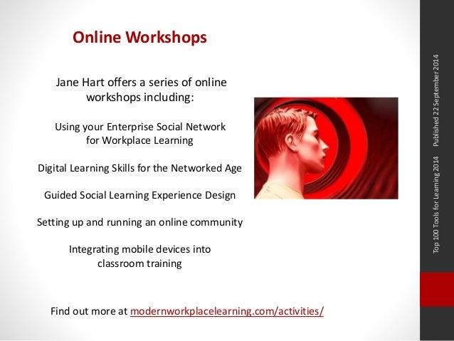 Top 100 Tools for Learning 2014 Published 22 September 2014  Online Workshops  Jane Hart offers a series of online  worksh...