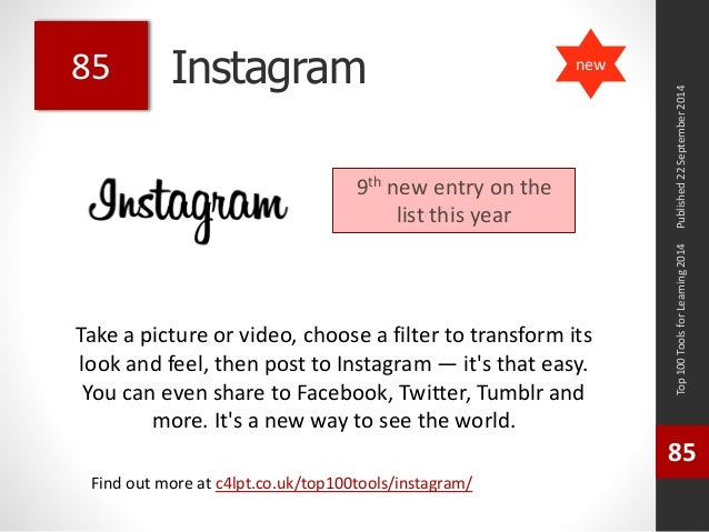 Instagram  Take a picture or video, choose a filter to transform its  look and feel, then post to Instagram — it's that ea...