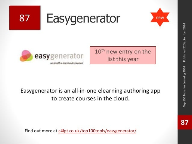 Easygenerator  Easygenerator is an all-in-one elearning authoring app  to create courses in the cloud.  Top 100 Tools for ...