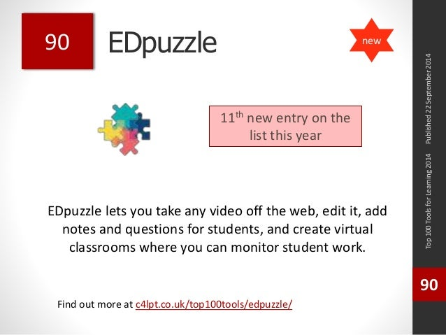 EDpuzzle  EDpuzzle lets you take any video off the web, edit it, add  notes and questions for students, and create virtual...