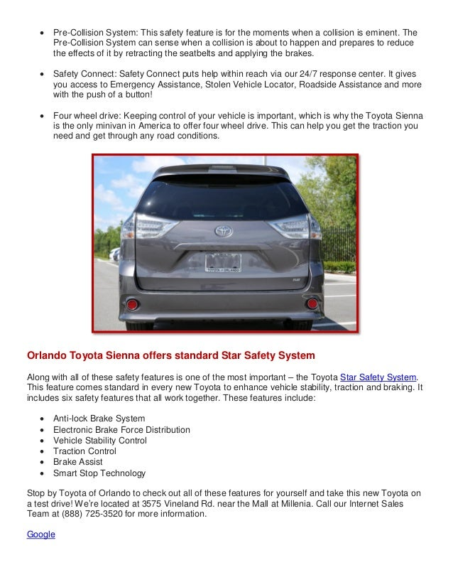 2014 Toyota Sienna in Orlando keeps you safe!