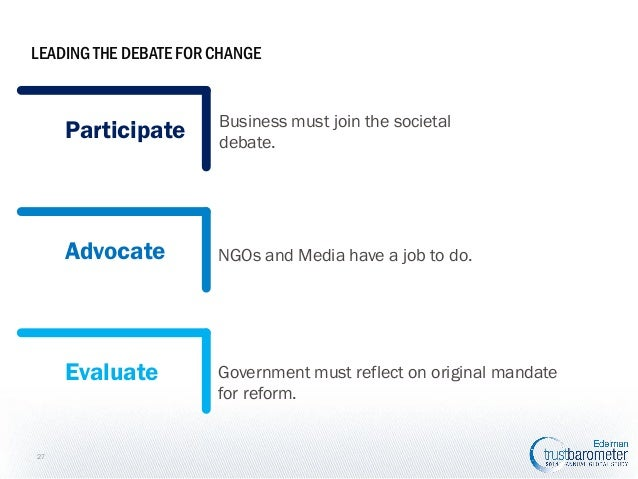 LEADING THE DEBATE FOR CHANGE  Participate  Advocate  NGOs and Media have a job to do.  Evaluate  27  Business must join t...