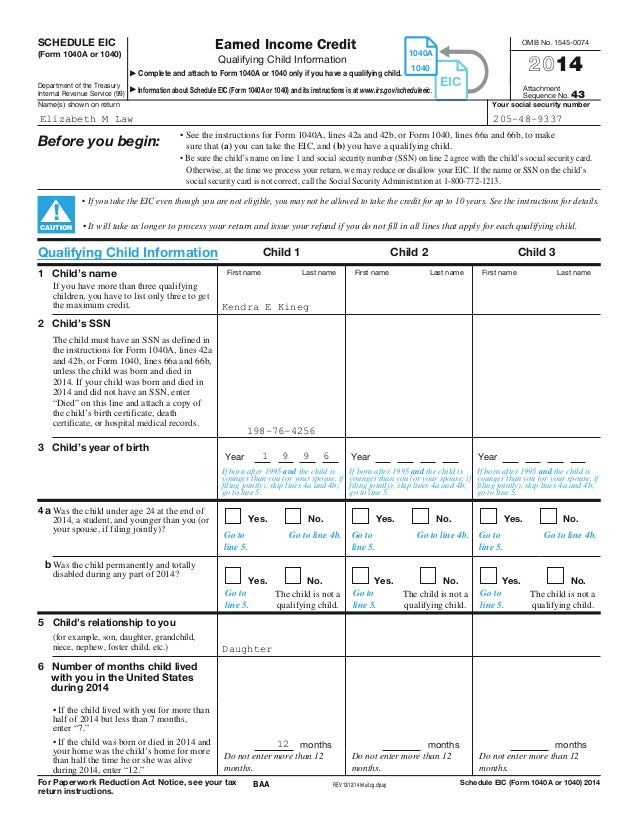 Eic worksheet 2014 irs