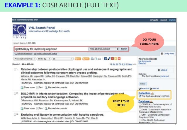 Tutorial Cochrane Library: content access