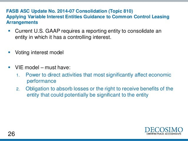 Gaap guidelines for consolidating entities with different