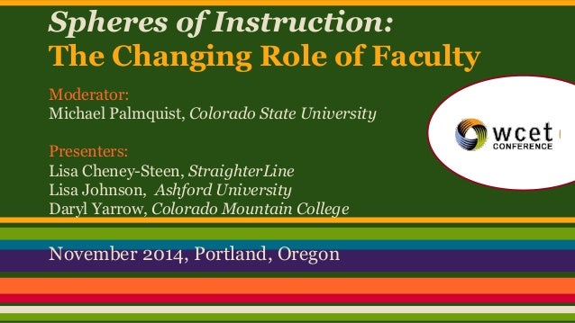 Spheres of Instruction:  The Changing Role of Faculty  Moderator:  Michael Palmquist, Colorado State University  Presenter...
