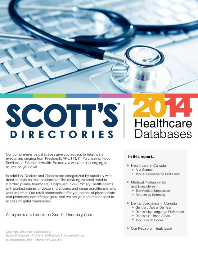 Healthcare Databases Our comprehensive databases give you access to healthcare executives ranging from Presidents VPs, HR,...