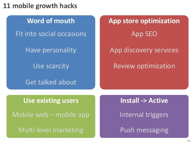 11 mobile growth hacks  Word of mouth  App store optimization  Fit into social occasions  App SEO  Have personality  App d...