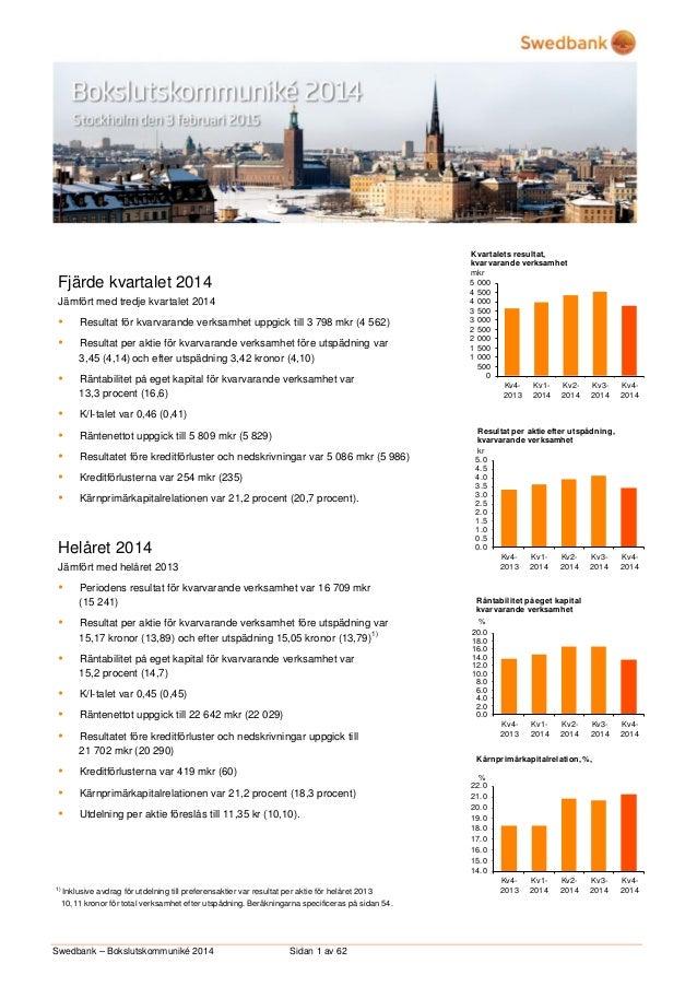 Swedbank – Bokslutskommuniké 2014 Sidan 1 av 62 Fjärde kvartalet 2014 Jämfört med tredje kvartalet 2014  Resultat för kva...