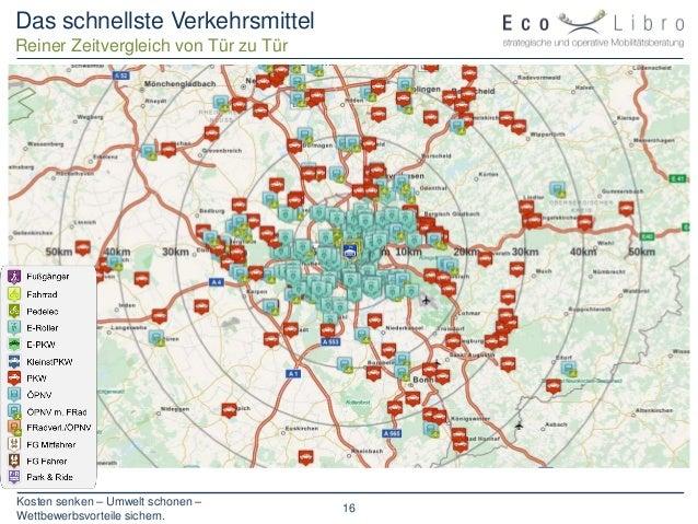 Kosten senken – Umwelt schonen – Wettbewerbsvorteile sichern. 16 Das schnellste Verkehrsmittel Reiner Zeitvergleich von Tü...