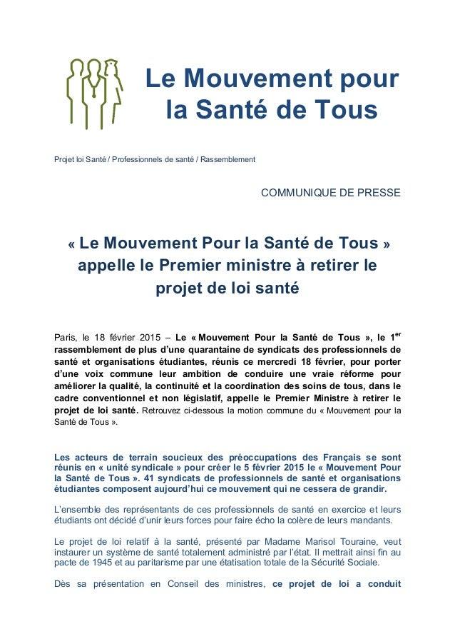 Le Mouvement pour la Santé de Tous       Projet loi Santé / Professionnels de santé / Rassemblement         COMM...