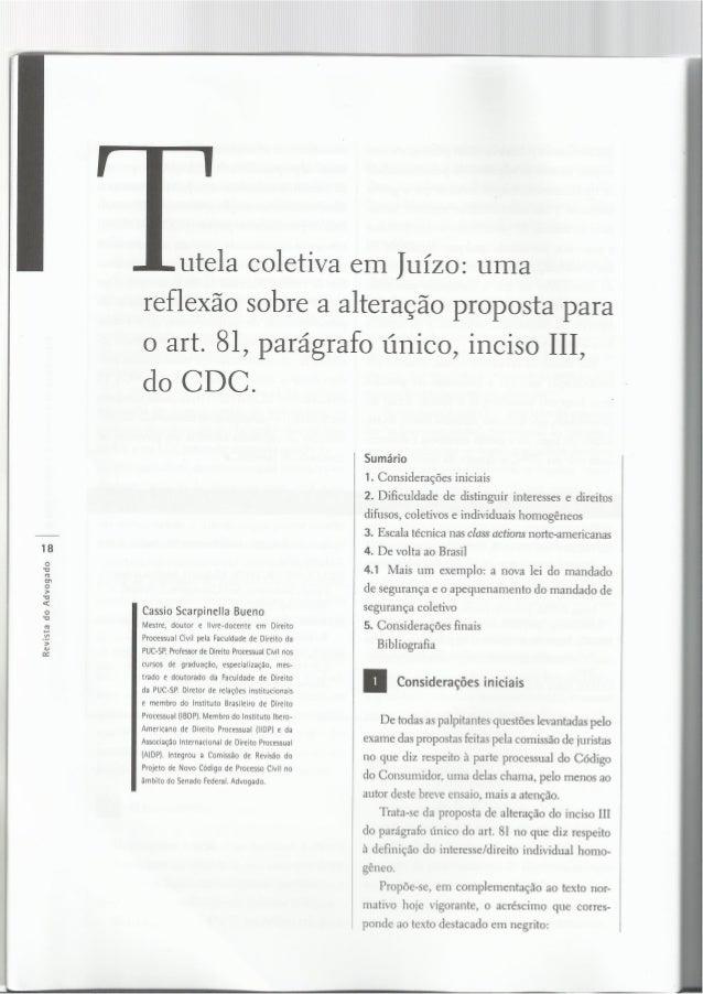 Revista do Advogado a i     a »tutela coletiva em Juízo:  uma  reflexão sobre a alteração proposta para  o art.  81, parág...