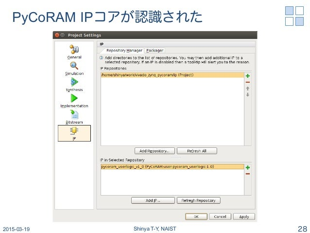 PyCoRAM IPコアが認識された 2015-03-19 Shinya T-Y, NAIST 28