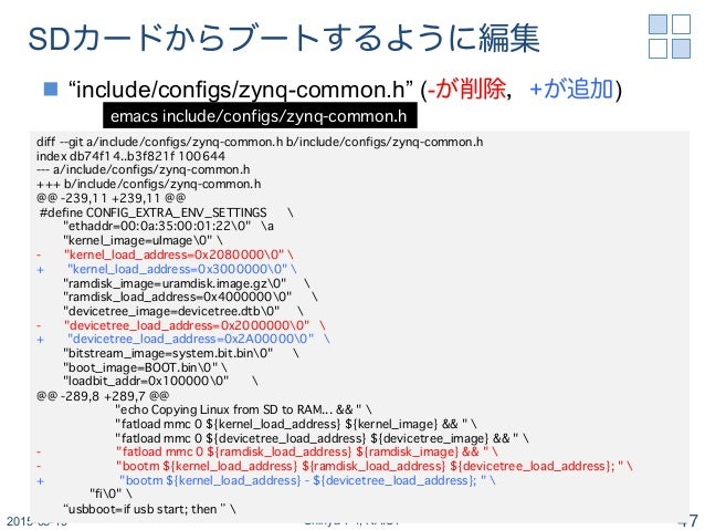 """SDカードからブートするように編集 n """"include/configs/zynq-common.h"""" (-が削除,+が追加) 2015-03-19 Shinya T-Y, NAIST 47 emacs include/configs/zy..."""