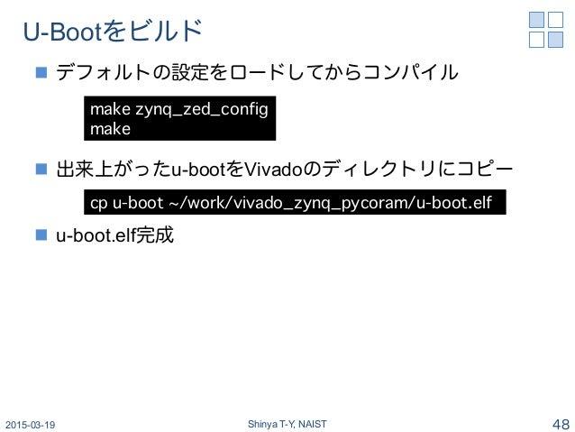 U-Bootをビルド n デフォルトの設定をロードしてからコンパイル n 出来上がったu-bootをVivadoのディレクトリにコピー n u-boot.elf完成 2015-03-19 Shinya T-Y, NAIST 48 m...