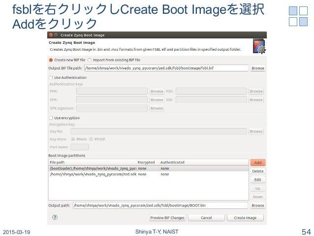 fsblを右クリックしCreate Boot Imageを選択 Addをクリック 2015-03-19 Shinya T-Y, NAIST 54
