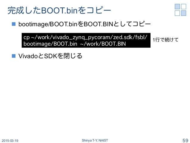 完成したBOOT.binをコピー n bootimage/BOOT.binをBOOT.BINとしてコピー n VivadoとSDKを閉じる 2015-03-19 Shinya T-Y, NAIST 59 cp ~/work/vivado...