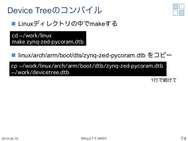 Device Treeのコンパイル n Linuxディレクトリの中でmakeする n linux/arch/arm/boot/dts/zynq-zed-pycoram.dtb をコピー 2015-03-19 Shinya T-Y, NA...