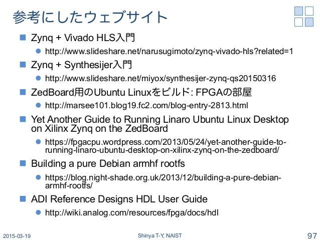 参考にしたウェブサイト n Zynq + Vivado HLS入門 l http://www.slideshare.net/narusugimoto/zynq-vivado-hls?related=1 n Zynq + Synthe...