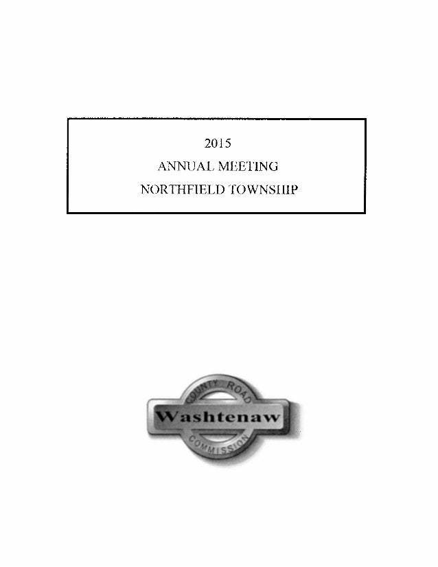 The 2015 Washtenaw County Road Commission Report to Northfield Township, Michigan Slide 2
