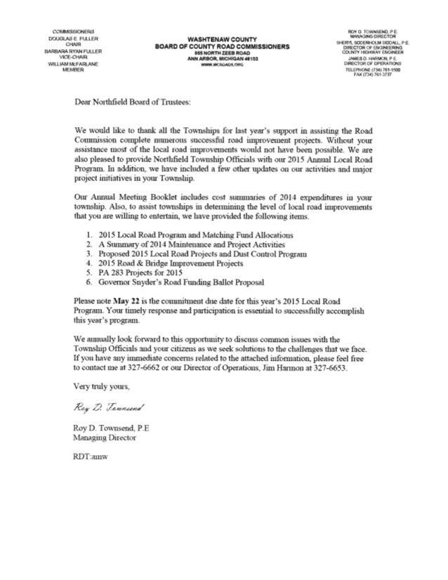 The 2015 Washtenaw County Road Commission Report to Northfield Township, Michigan Slide 3