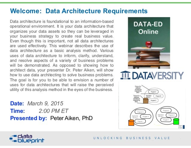 Data architecture is foundational to an information-based operational environment. It is your data architecture that organ...