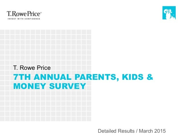 7TH ANNUAL PARENTS, KIDS & MONEY SURVEY T. Rowe Price Detailed Results / March 2015