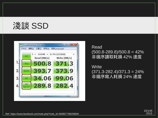 15/147 2015 淺談 SSD Ref: https://www.facebook.com/note.php?note_id=350857798258600 Read (500.8-289.8)/500.8 = 42% 非循序讀取耗損 4...