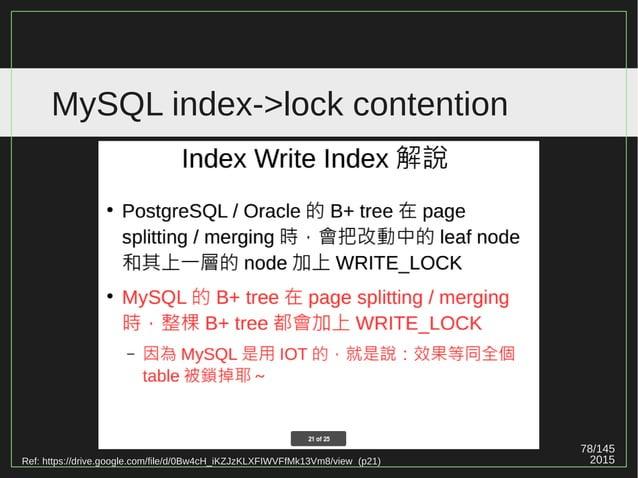 78/147 2015 MySQL index->lock contention Ref: http://www.slideshare.net/mysqlops/innodb-internal-9032556 (p17)