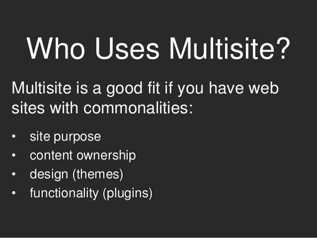 WARNING Multisite documentation may be incomplete, outdated or missing entirely. You have to learn a lot of it by trial an...
