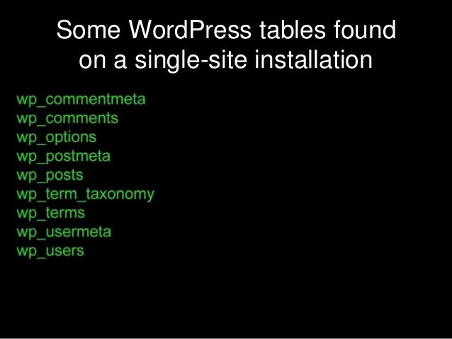 Some WordPress tables found on a single-site installation