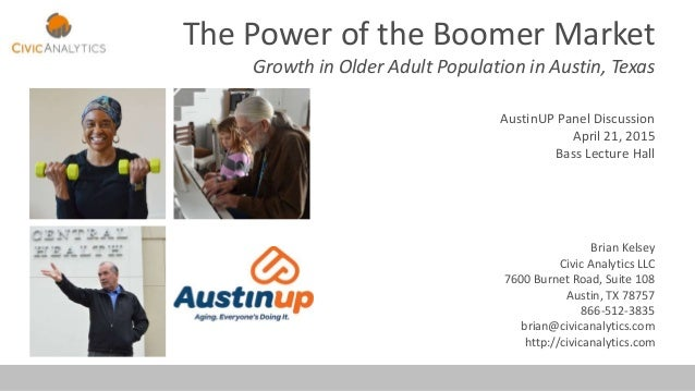 The Power of the Boomer Market Growth in Older Adult Population in Austin, Texas AustinUP Panel Discussion April 21, 2015 ...