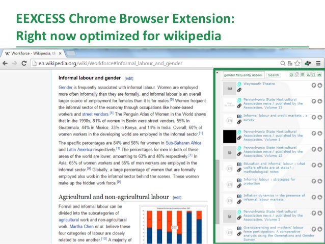 EEXCESS Chrome Browser Extension: Right now optimized for wikipedia 13
