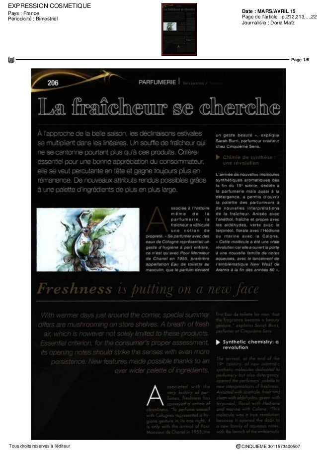 EXPRESSION COSMETIQUE Date : MARS/AVRIL 15Pays : France Périodicité : Bimestriel Page de l'article : p.212,213,...,220 Jou...