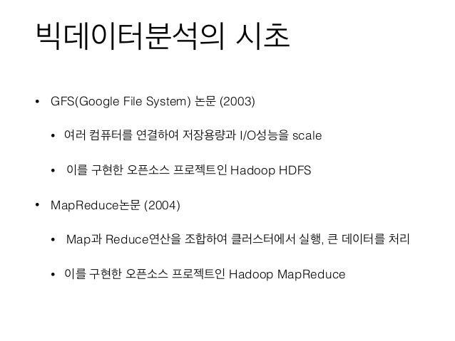 빅데이터분석의 시초 • GFS(Google File System) 논문 (2003) • 여러 컴퓨터를 연결하여 저장용량과 I/O성능을 scale • 이를 구현한 오픈소스 프로젝트인 Hadoop HDFS • MapRedu...