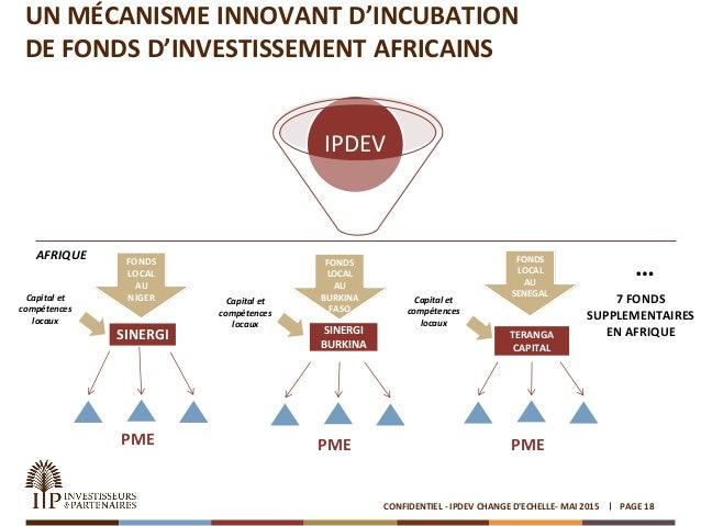 UN MÉCANISME INNOVANT D'INCUBATION DE FONDS D'INVESTISSEMENT AFRICAINS PAGE 18CONFIDENTIEL - IPDEV CHANGE D'ECHELLE- MAI 2...