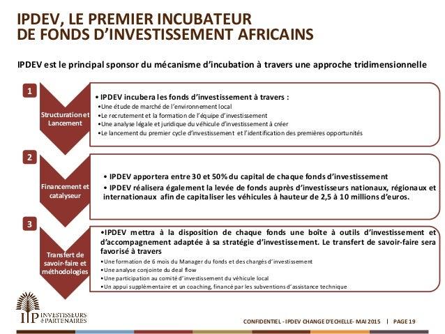 IPDEV, LE PREMIER INCUBATEUR DE FONDS D'INVESTISSEMENT AFRICAINS IPDEV est le principal sponsor du mécanisme d'incubation ...