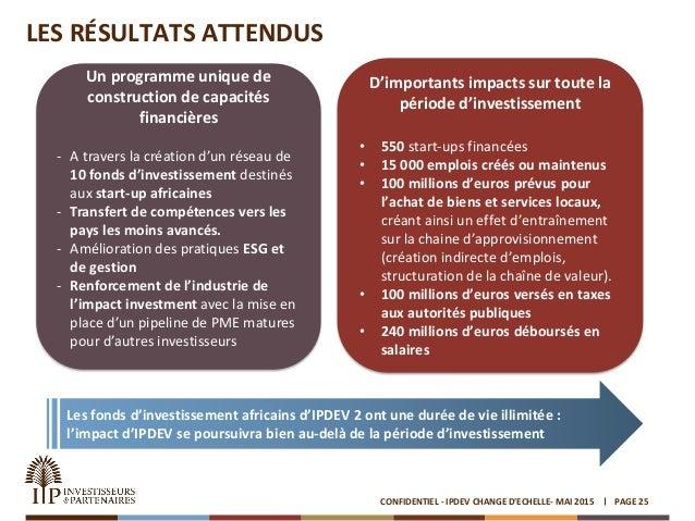 LES RÉSULTATS ATTENDUS PAGE 25CONFIDENTIEL - IPDEV CHANGE D'ECHELLE- MAI 2015 Un programme unique de construction de capac...