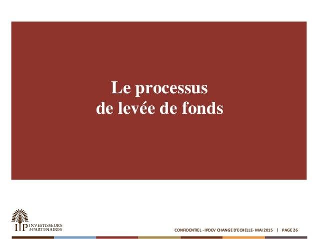 Le processus de levée de fonds PAGE 26CONFIDENTIEL - IPDEV CHANGE D'ECHELLE- MAI 2015