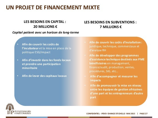 UN PROJET DE FINANCEMENT MIXTE PAGE 27CONFIDENTIEL - IPDEV CHANGE D'ECHELLE- MAI 2015 LES BESOINS EN CAPITAL : 20 MILLIONS...