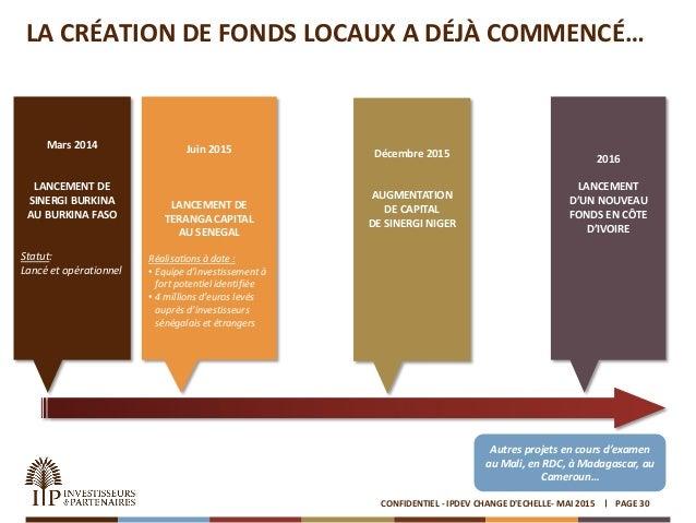 LA CRÉATION DE FONDS LOCAUX A DÉJÀ COMMENCÉ… PAGE 30CONFIDENTIEL - IPDEV CHANGE D'ECHELLE- MAI 2015 Mars 2014 LANCEMENT DE...