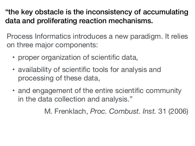 """""""the key obstacle is the inconsistency of accumulating data and proliferating reaction mechanisms. Process Informatics int..."""