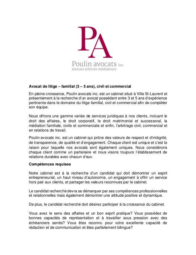 Offre d'emploi Avocats - Montréal on