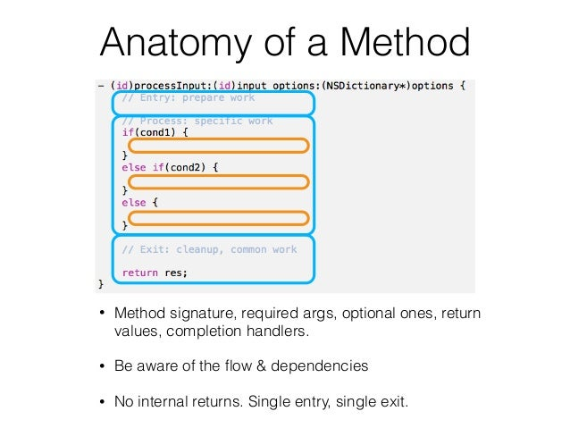 Anatomy of a Method • Method signature, required args, optional ones, return values, completion handlers. • Be aware of th...