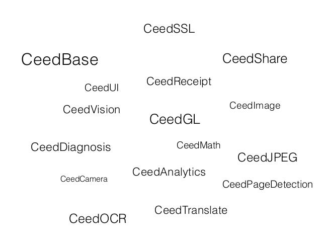 CeedBase CeedVision CeedGL CeedMath CeedAnalytics CeedShare CeedImage CeedCamera CeedDiagnosis CeedOCR CeedTranslate CeedJ...