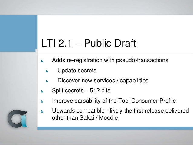 Re- Register TC Profile TP Profile Got your draft Approve Launch Final 1 ToolLMS LTI 2.2 Final 1 Draft 2 Draft 2 Launch Fi...