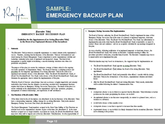 2015 06 03 succession policy contingency planning for ceos for It backup plan template
