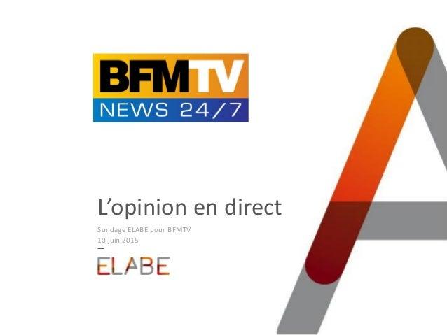 L'opinion en direct Sondage ELABE pour BFMTV 10 juin 2015